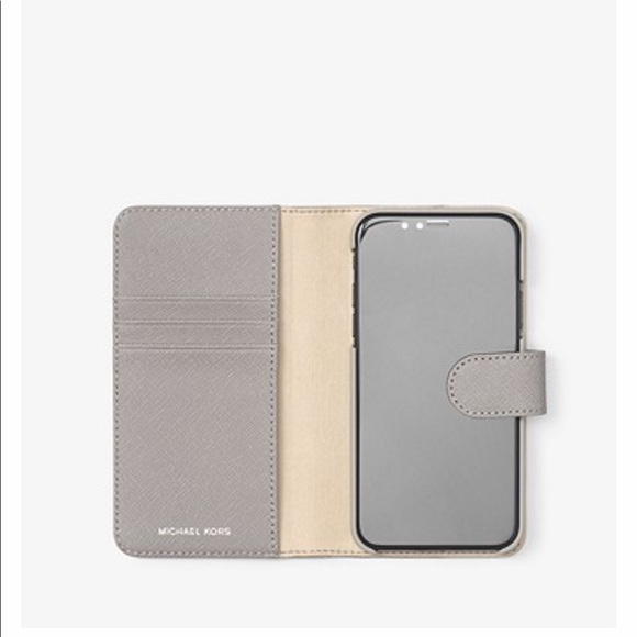 f67a6131c277 Michael Kors Saffiano Leather Folio IPhone X Case.  M 5bb27418a5d7c626172256a7